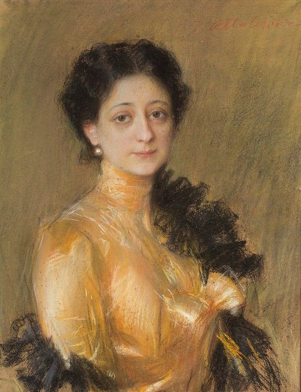 Teodor Axentowicz (1859-1938), Portret pani P., ok. 1905, pastel
