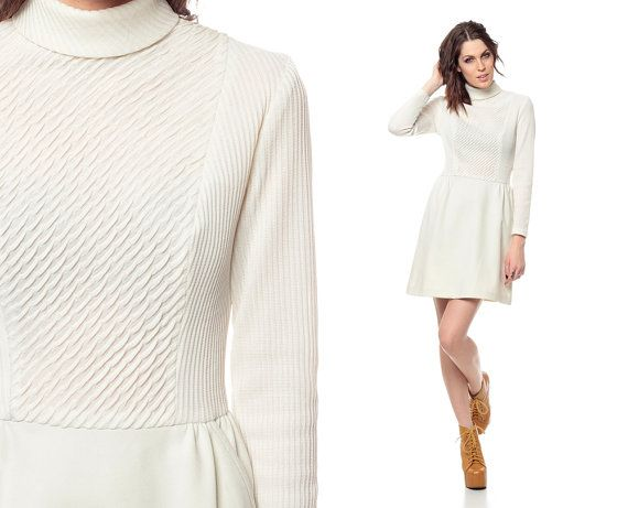 cream long sleeve cocoon dress - going out dresses - dresses