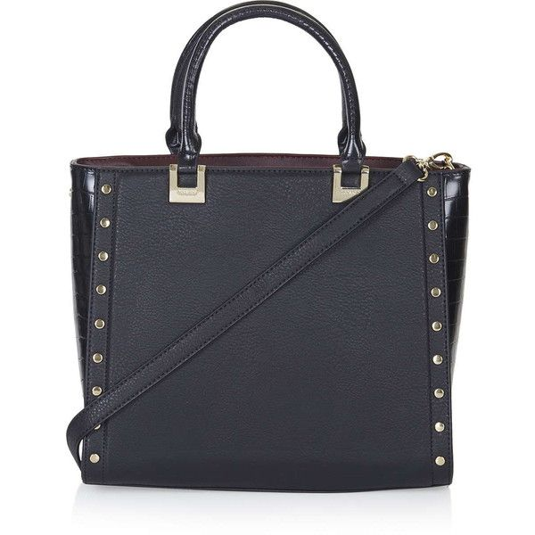 TopShop Studded Top Handle Tote Bag (235 PLN) ❤ liked on Polyvore featuring bags, handbags, tote bags, purses, black, man tote bag, topshop, tote handbags, top handle purse and top handle tote
