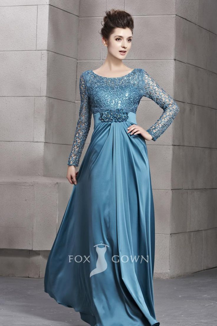 Blue Scoop Neck Long Sleeve Sequin Lace Bodice A-line Floor Length Formal Dress
