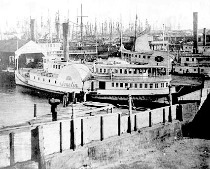 Pacific Street Docks Ferry Boat 1860s San Francisco LibraryCode AAC-2278…