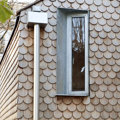 Rounded shingles create wooden scales across the walls of this small house in Hackney