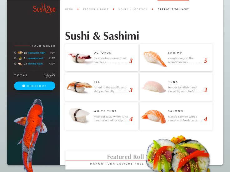 Sushi2Go — Carryout Menu Page