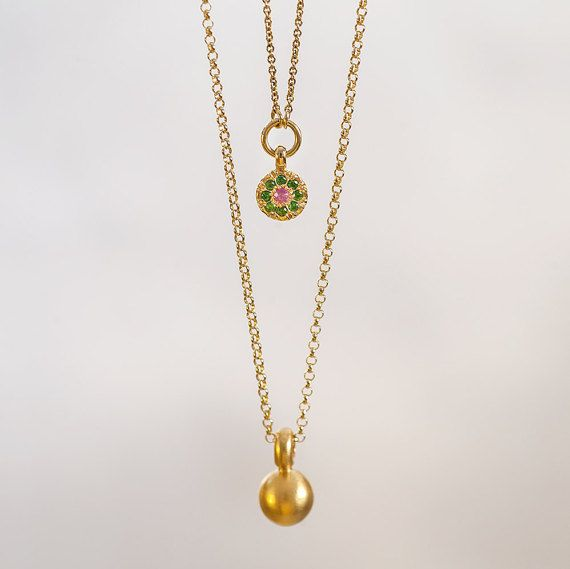 Solid Ball pendant, 22k gold necklace, gold ball pendant, women's gold weight, 22 karat gold Sphere, Middle-Line, for her, Berman Designers