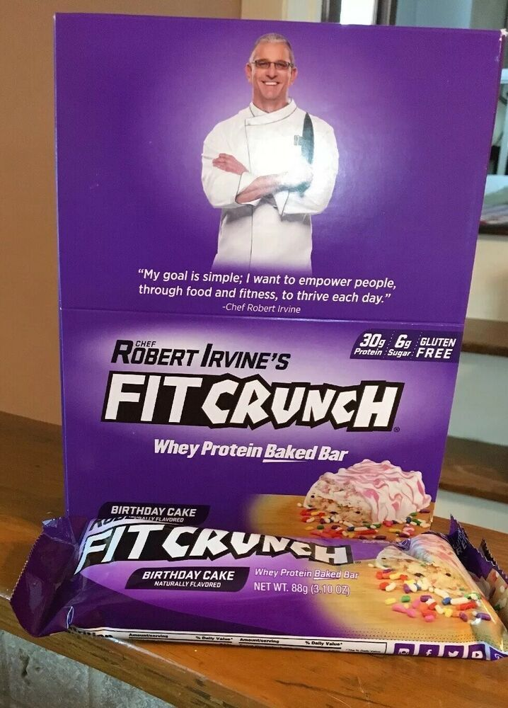 Fit Crunch Bars Bar Birthday Cake Whey Protein 12 Robert Irvine