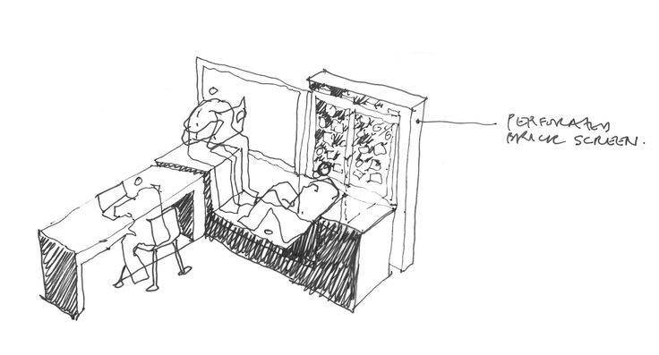 Detail sketch of study space
