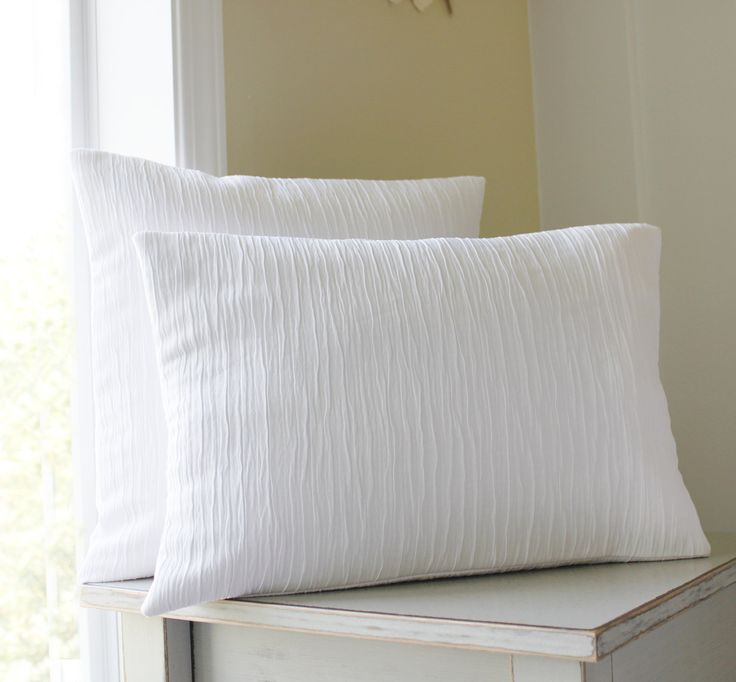 Solid White Pillow Covers Textured Throw Pillows