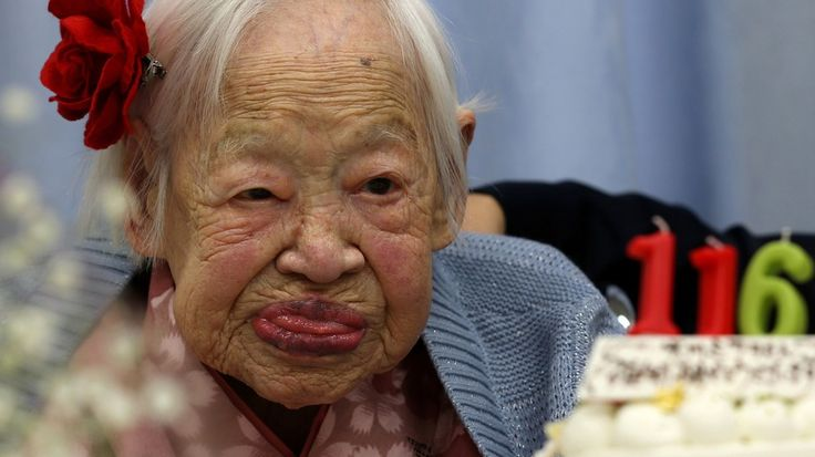 Misao Okawa, the world's oldest Japanese woman, at her 116th birthday celebration at Kurenai Nursing Home on March 5, 2014 in Osaka, Japan.