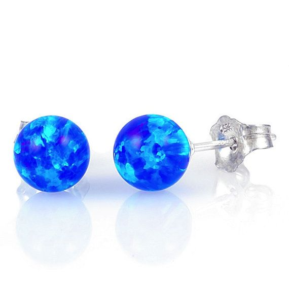 8mm Australian Pacific Blue Opal Ball Stud Post by 1000jewels, $86.00