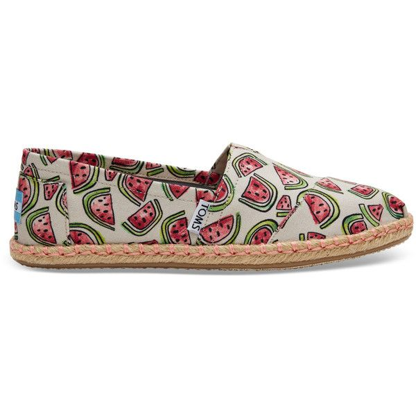 TOMS Watermelon Print Women's Espadrilles Shoes ($59) ❤ liked on Polyvore featuring shoes, watermelon, multi color shoes, colorful shoes, toms footwear, multi coloured shoes and elastic shoes