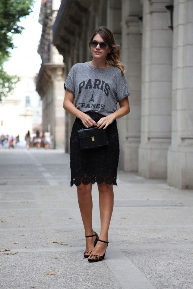 graphic tee and lace skirt