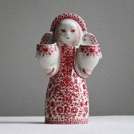 Wiinblad glazed ceramic angel candlestick