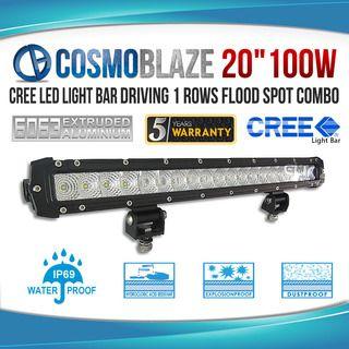 "Cosmoblaze 20"" 100W CREE LED Light Bar Driving 1 rows FLOOD SPOT COMBO"