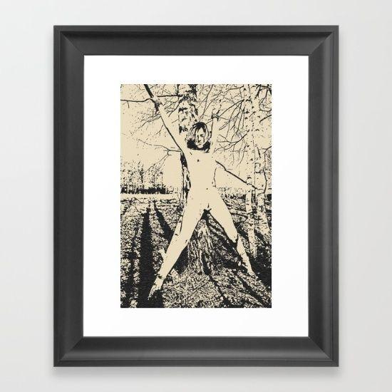 Slave girl, BDSM, Bondage in forest, woman tied to a tree, fetish artwork Framed Art Print