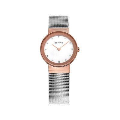 Montre Bering, femme, mouvement à quartz, 2 aiguilles, boitier rond, acier doré rose, diamètre 26mm, cadran blanc, index cristal de Swarovski, bracelet acier, maille milanaise, étanche 5ATM
