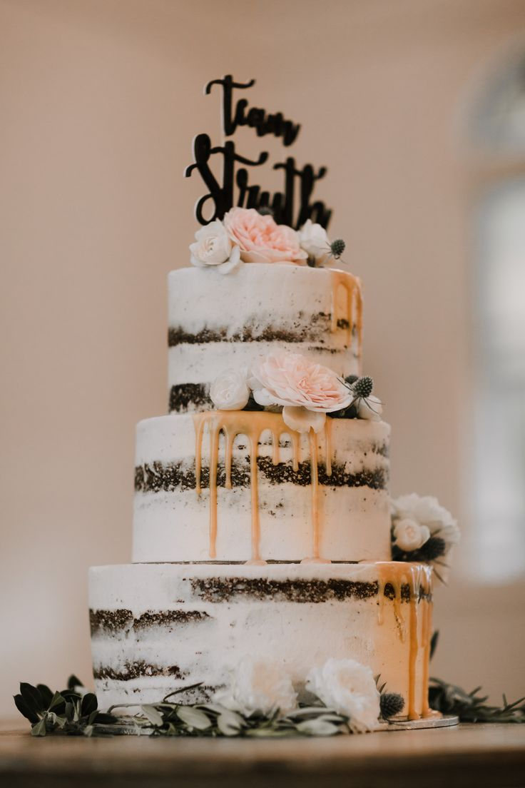 Three Tier Naked Wedding Cake Perfect For A Fall Wedding