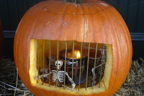 Pumpkin Jail Cut oblong hole Insert bamboo squewers (painted grey) Put small skeletons and tin with night light in....  Light it