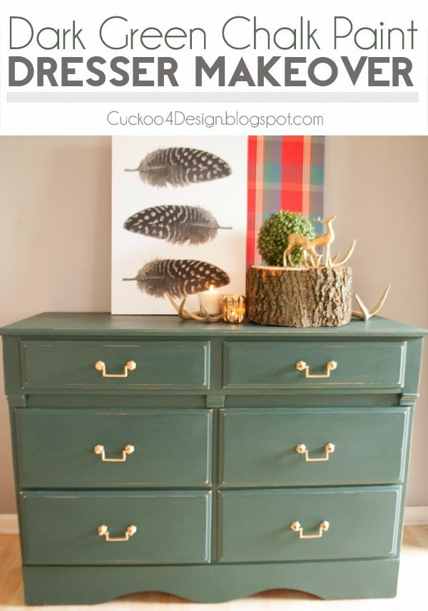 Green Traditional Dresser Makeover (DIY chalk paint)