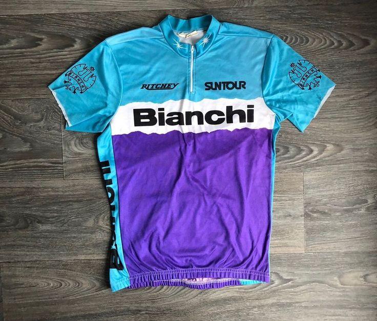 Bianchi 80s Cycling Jersey Vtg Racing Bike Bicycle Shirt Race Suntour DIY S Tee #TopPerformance