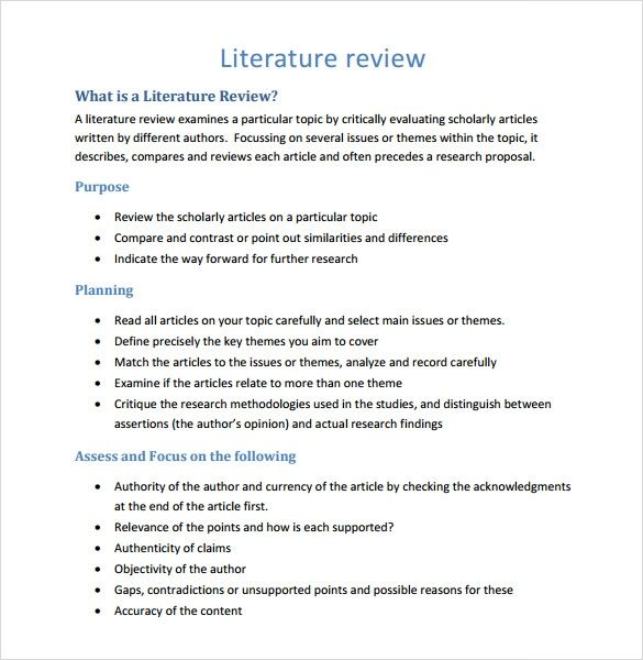 Free 5 Sample Literature Review Templates In Pdf Ms Word Literature Review Template Literature Review Research Writing