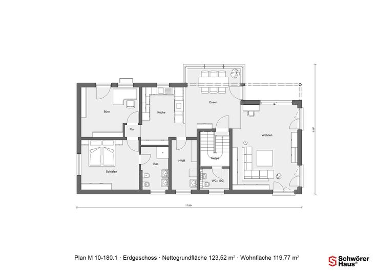 bungalow erdgeschoss grundriss schw rer plan m 10 180 1 mit 119 77 m wohnfl che grundrisse. Black Bedroom Furniture Sets. Home Design Ideas