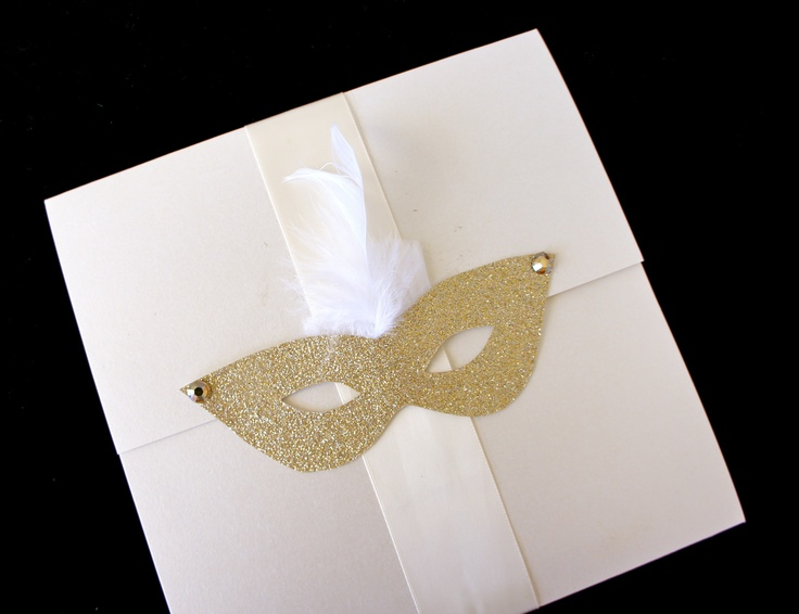Glitter mask invitation made with 100% love JUST FOR YOU!