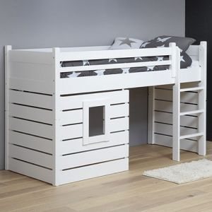 hochbett spielbett h ttenbett tarzan massivholz wei umbaubar 90x200cm hochbett. Black Bedroom Furniture Sets. Home Design Ideas