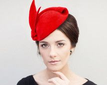 Red Fascinator Hat, Old Hollywood Glamour, Pin Up Headpiece, Mini Hat, Hatinator, Felt Hat, Cocktail Hat - Mona