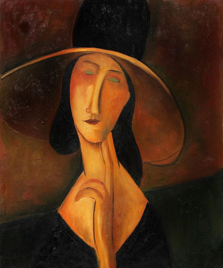 Modigliani - Portrait of Woman in Hat, Jeanne Hebuterne - Amedeo Modigliani