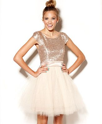 My Jr Bridesmaid/Ring Bearess would look so cute in this...Trixxi Juniors Dress, Cap Sleeve Sequin Tulle- Macys.com