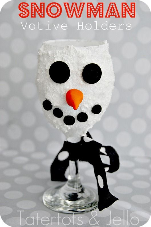 14 of the Best DIY Wine Christmas Decoration Projects. ~ DIY Snowman Wine Glass Votive Holders