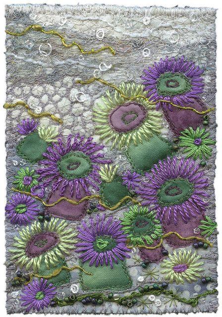 Agregate Anemones 2 by Kirsten's Fabric Art, via Flickr