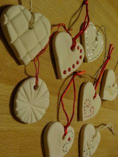 Press beads into baking soda-cornstarch ornaments! (Air dry, or do a test oven drying with the beads before putting them in a whole batch) Show Tell Share: Baking Soda Clay Heart Ornaments