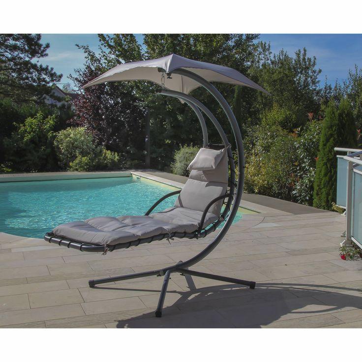 Chaise longue suspendue avec ombrelle gris relax 1 les for Chaise longue relax jardin