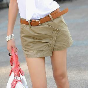 Female summer plus size Solid Zipper belt button Irregular slim shorts woman oversized straight short skirts D12