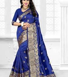 Buy Navy blue embroidered art silk saree with blouse art-silk-saree online