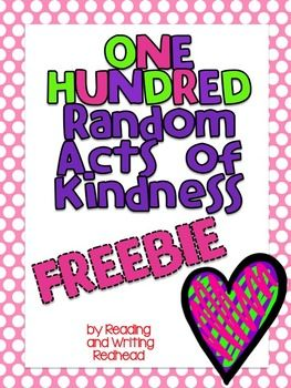 Great for the 100th Day of School! Looking for a fun and free 100s Day activity that addresses character education and social skills? Try this freebie which would be a great accompaniment to your social skills and character education lessons. Students brainstorm and record 100 random acts of kindness. Could be an individual or buddy activity. Then they have a resource with tons of ways they could show kindness to others!