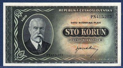 Czechoslovakian money 100 korun banknote of 1945, President Masaryk