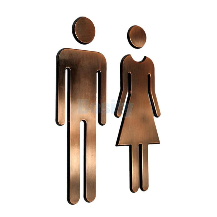 Pair Of Female&Man Wc Toilet Wall Door Signs Poster Stickers Adhesive Bronze