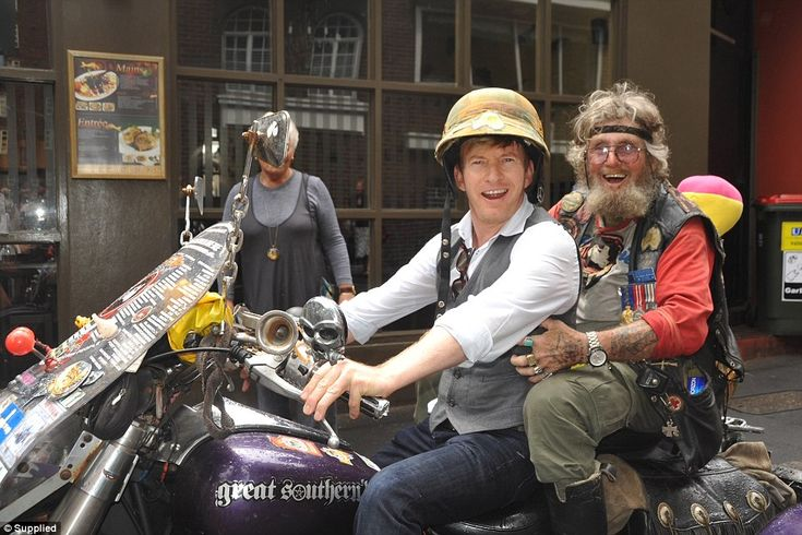 Actor David Wenham was one of countless celebrities to enjoy a ride on Animal's purple trike