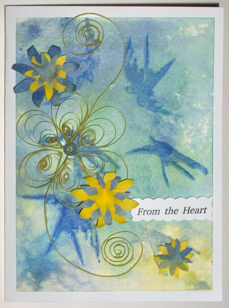 #27 Hand-made card with quilling. Yellow & blue flowers on a bluebird background - $10.00