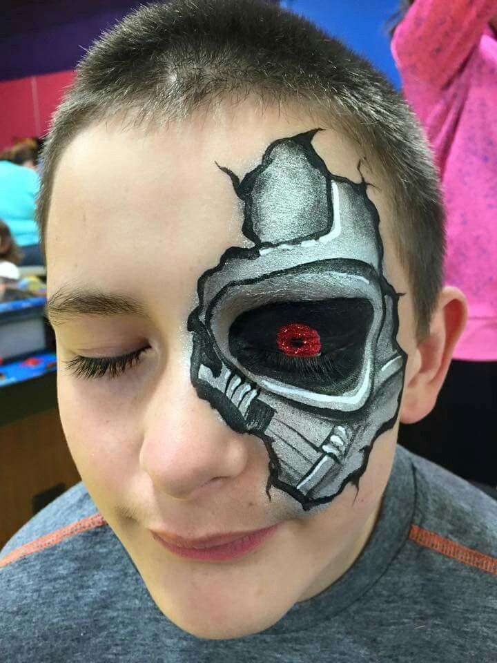 Cyborg terminator eye face painting, superhero, pop culture, movies face painting ideas, boy designs,