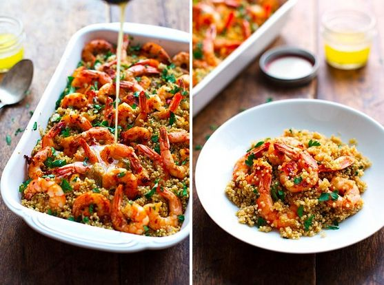 Garlic Butter Shrimp and Quinoa   25 Quinoa Recipes That Are Actually Delicious. Can't wait to add this to the collection of favourites! :)