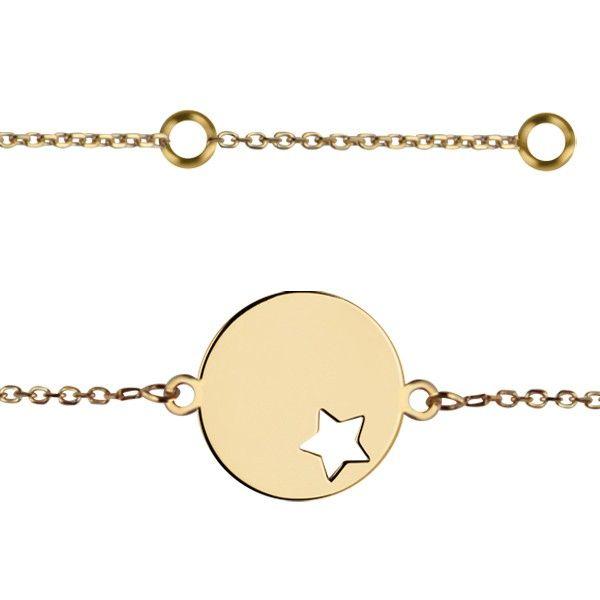 Bracelet identité médaille étoile Or 375°°° - PM - Bébé & Enfant   BRACELET Bébé & CADEAU DE NAISSANCE   BIJOUX BEBE