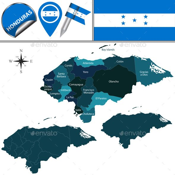 Map of Honduras with Named Departments by sateda2012 Vector map of Honduras with named departments and travel icons. Package contains: EPS (10 version), JPG (50005000 pixels, RGB)
