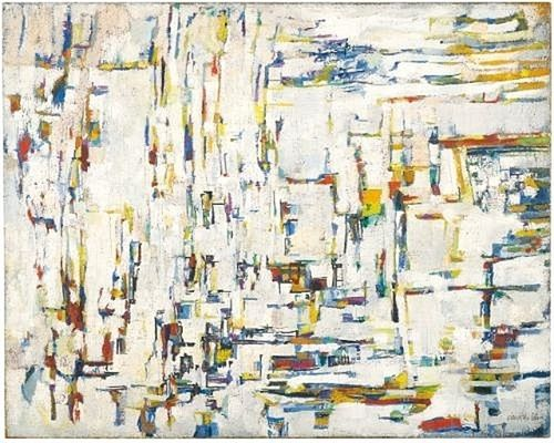 """By the late 1950s Vieira da Silva was internationally known for her dense and complex compositions, influenced by the art of Paul Cézanne and the fragmented forms, spatial ambiguities, and restricted palette of cubism and abstract art. She is considered to be one of the most important Post-War abstract artists however she is not a """"pure"""" abstract painter. Her work is related to French Tachisme, American Abstract expressionism, and Surrealism."""