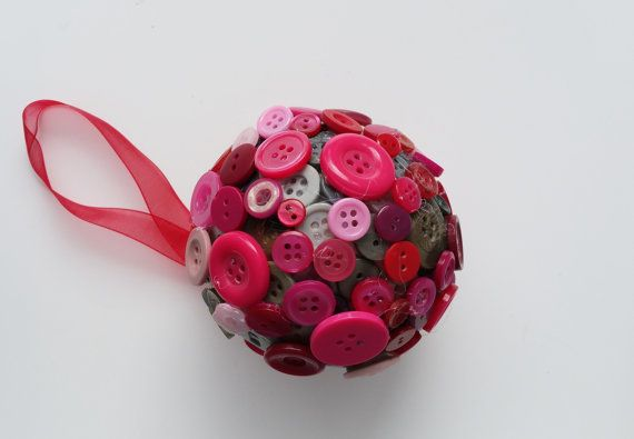 Festive button ball Christmas decor holiday by DunnCrafting