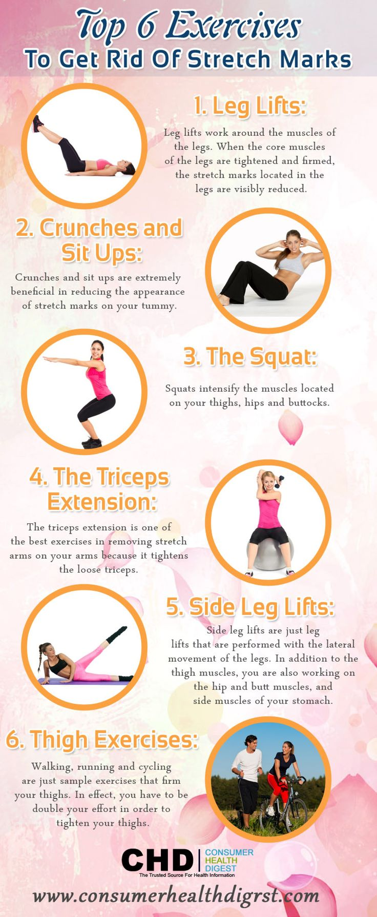 6 Exercises That Help You Get Rid of Stretch Marks Infographic