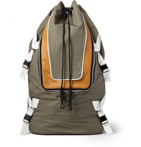 Tim Coppens Leather-Trimmed Nylon Backpack
