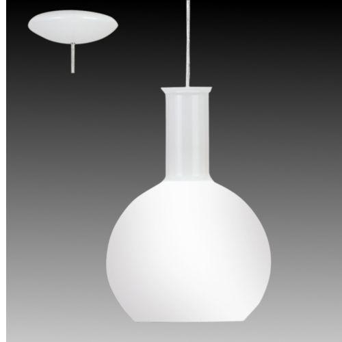 Sospensione in vetro soffiato opale colore bianco lucido.  Si presta molto bene ad illuminare un corridoio, un bagno  o in composizione su un tavolo da cucina o penisola.